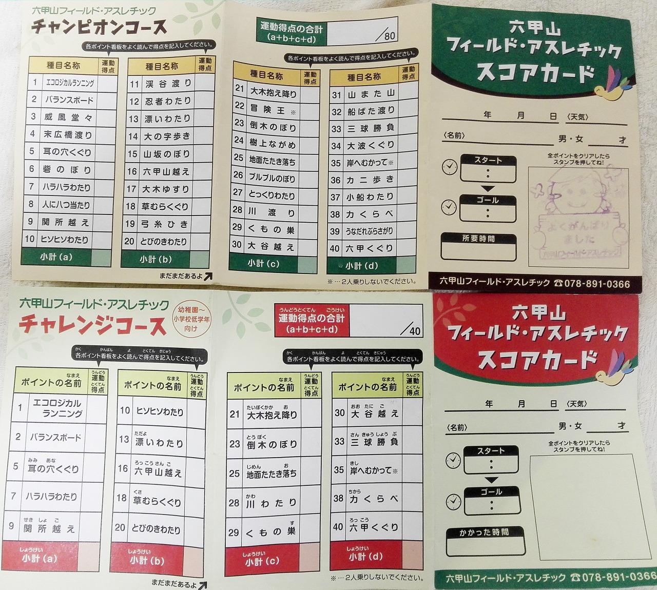 六甲山アスレチックカード