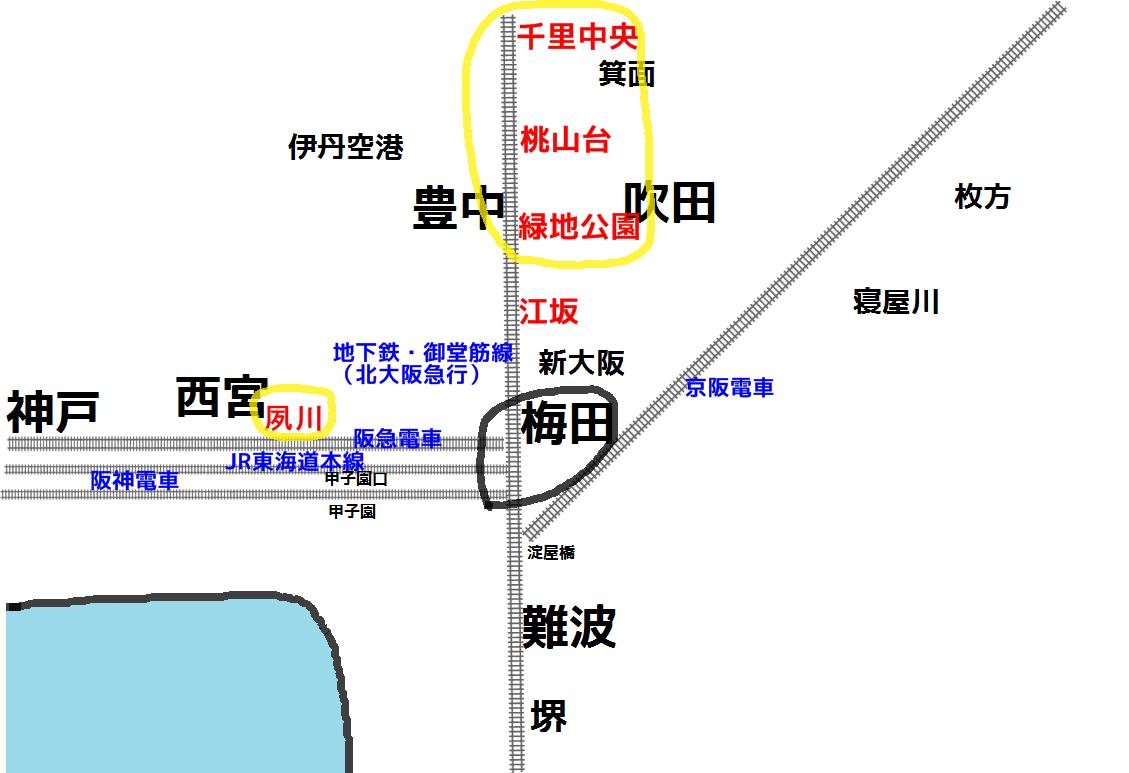 大阪の中心部・梅田へのアクセス
