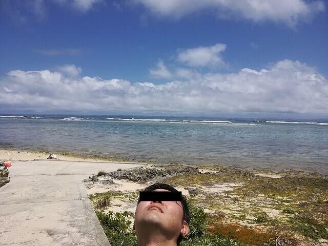 久高島の青い海と空
