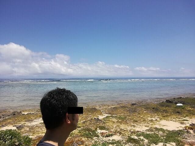 久高島から眺める青い海