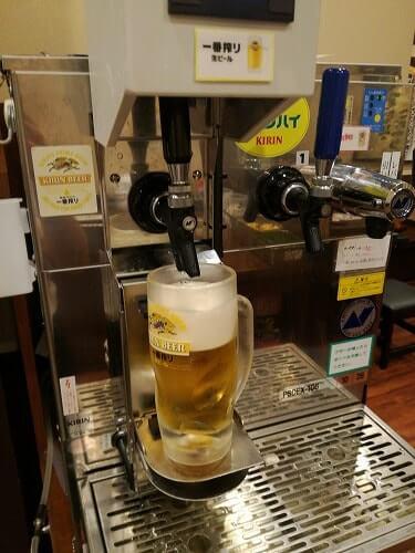 丸亀製麺飲み放題のビールサーバー