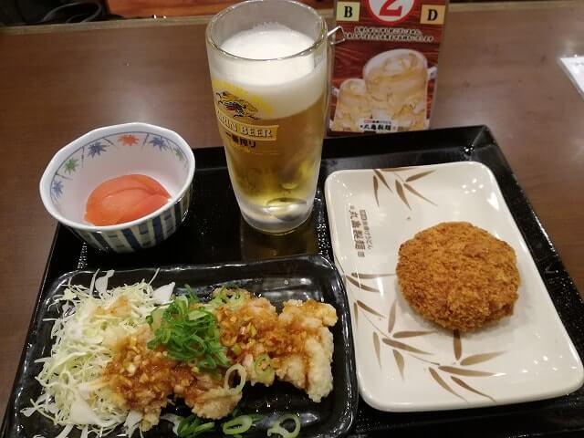 丸亀製麺飲み放題の油淋鶏セット
