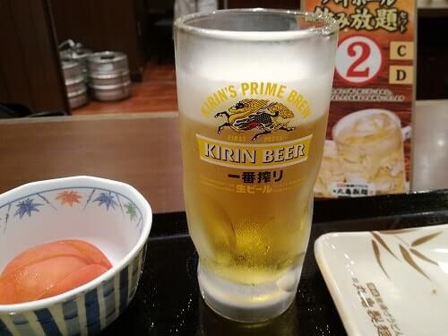 丸亀製麺で飲むビール