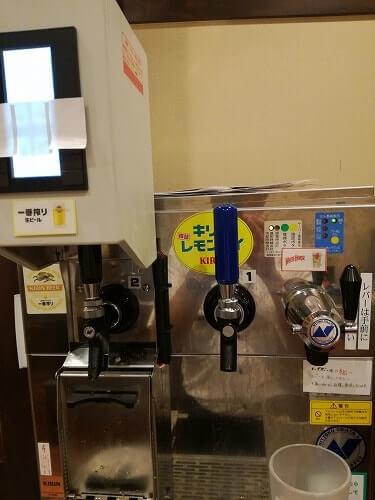 丸亀製麺飲み放題のビールサーバーとサワーサーバー