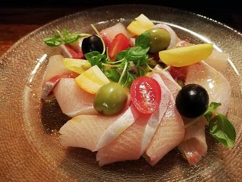 魚屋のトラットリア アレグロペッシェのブリのカルパッチョ
